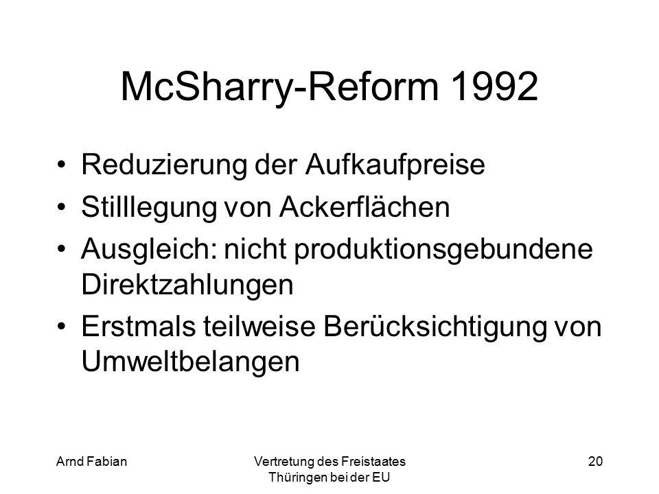 Arnd FabianVertretung des Freistaates Thüringen bei der EU 20 McSharry-Reform 1992 Reduzierung der Aufkaufpreise Stilllegung von Ackerflächen Ausgleich: nicht produktionsgebundene Direktzahlungen Erstmals teilweise Berücksichtigung von Umweltbelangen