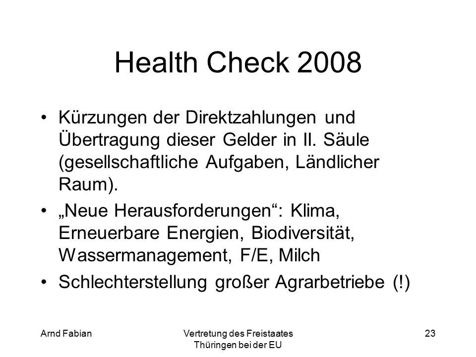 Arnd FabianVertretung des Freistaates Thüringen bei der EU 23 Health Check 2008 Kürzungen der Direktzahlungen und Übertragung dieser Gelder in II.
