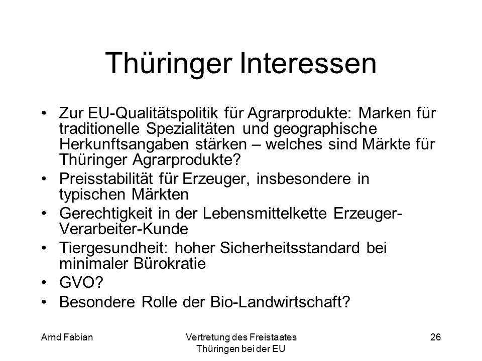 Arnd FabianVertretung des Freistaates Thüringen bei der EU 26 Thüringer Interessen Zur EU-Qualitätspolitik für Agrarprodukte: Marken für traditionelle Spezialitäten und geographische Herkunftsangaben stärken – welches sind Märkte für Thüringer Agrarprodukte.
