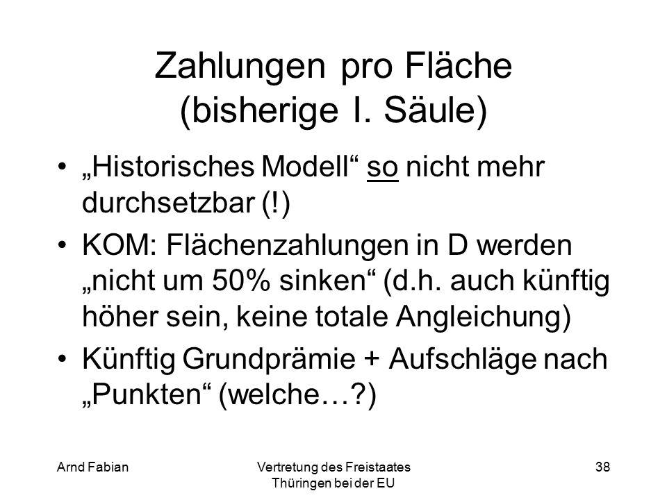 Arnd FabianVertretung des Freistaates Thüringen bei der EU 38 Zahlungen pro Fläche (bisherige I.