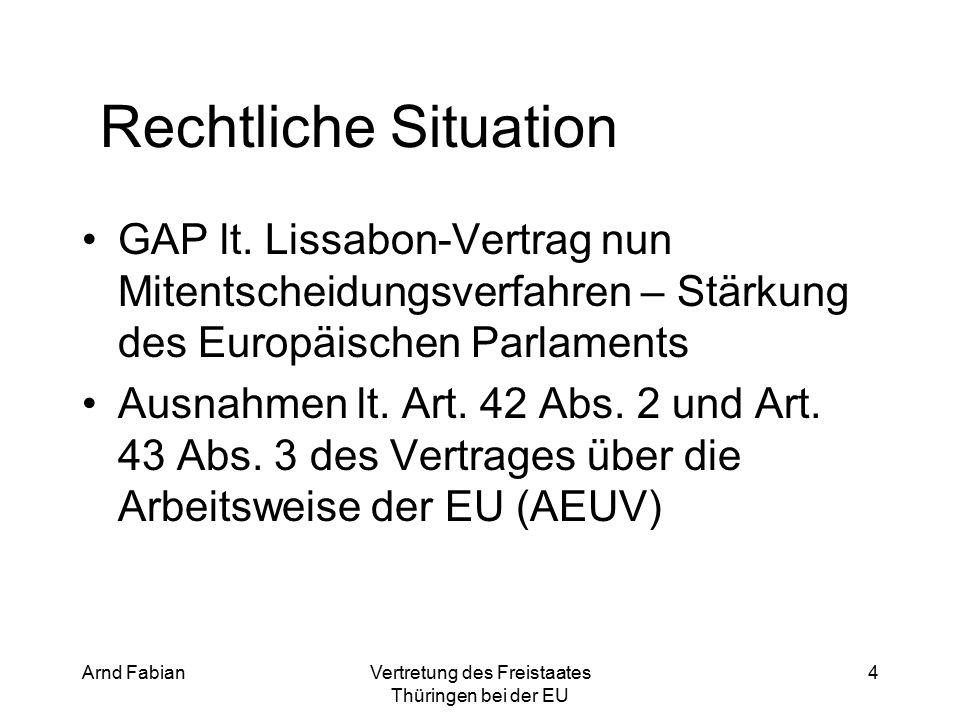 Arnd FabianVertretung des Freistaates Thüringen bei der EU 4 Rechtliche Situation GAP lt.