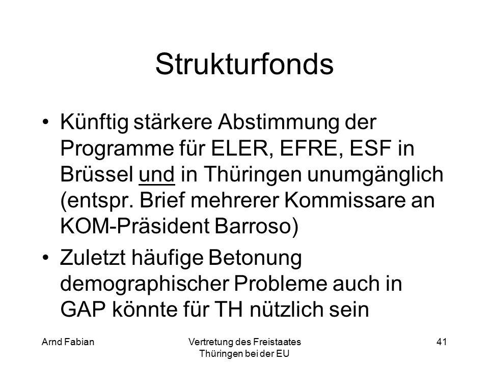 Arnd FabianVertretung des Freistaates Thüringen bei der EU 41 Strukturfonds Künftig stärkere Abstimmung der Programme für ELER, EFRE, ESF in Brüssel und in Thüringen unumgänglich (entspr.