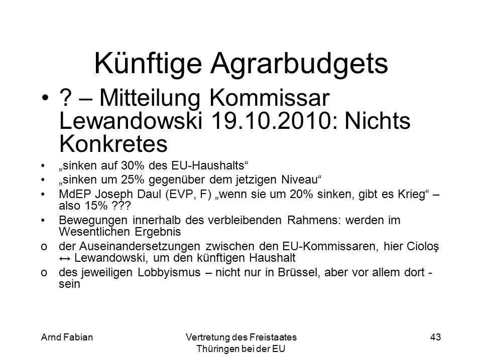 Arnd FabianVertretung des Freistaates Thüringen bei der EU 43 Künftige Agrarbudgets .