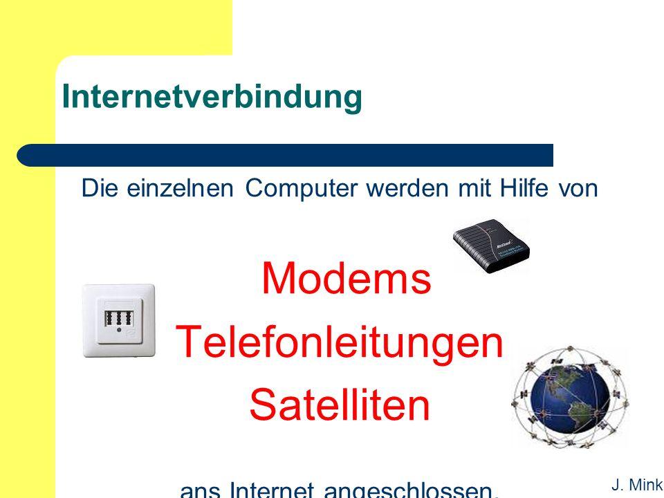 J. Mink Internetverbindung Die einzelnen Computer werden mit Hilfe von Modems Telefonleitungen Satelliten ans Internet angeschlossen.