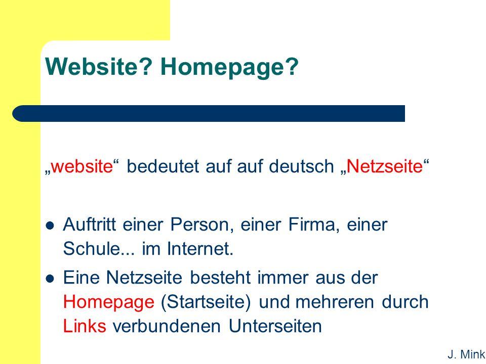 J. Mink Website. Homepage.