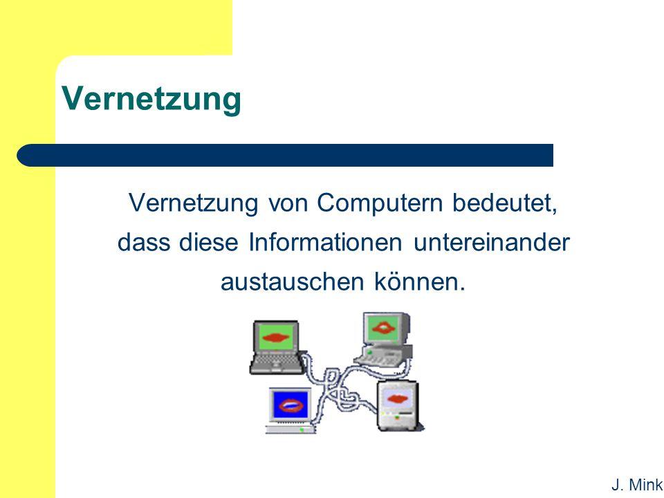 J. Mink Vernetzung Vernetzung von Computern bedeutet, dass diese Informationen untereinander austauschen können.