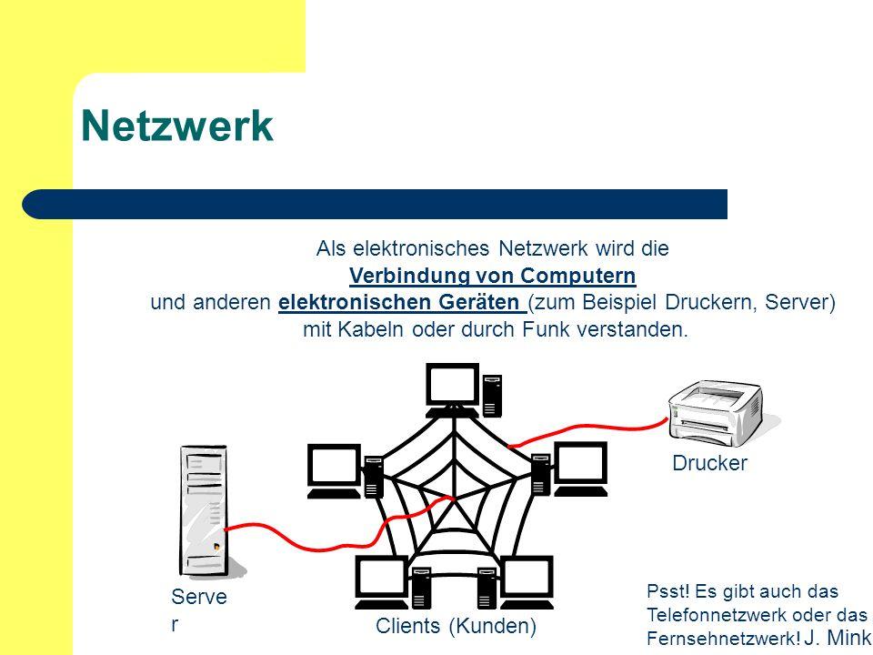 J. Mink Netzwerk Als elektronisches Netzwerk wird die Verbindung von Computern und anderen elektronischen Geräten (zum Beispiel Druckern, Server) mit