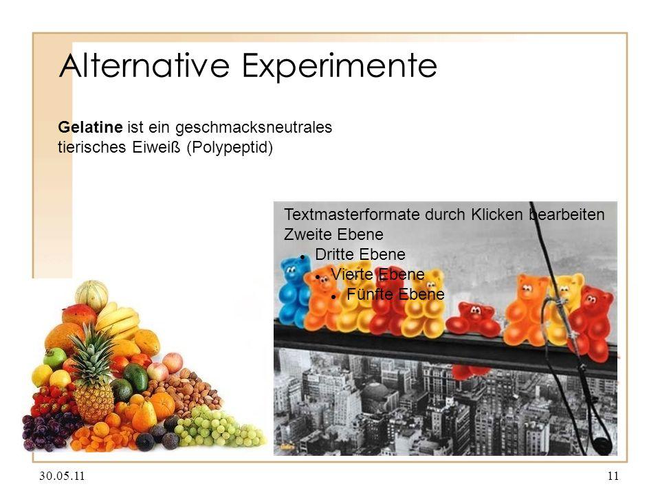 Alternative Experimente 30.05.1111 Textmasterformate durch Klicken bearbeiten Zweite Ebene Dritte Ebene Vierte Ebene Fünfte Ebene Gelatine ist ein geschmacksneutrales tierisches Eiweiß (Polypeptid)