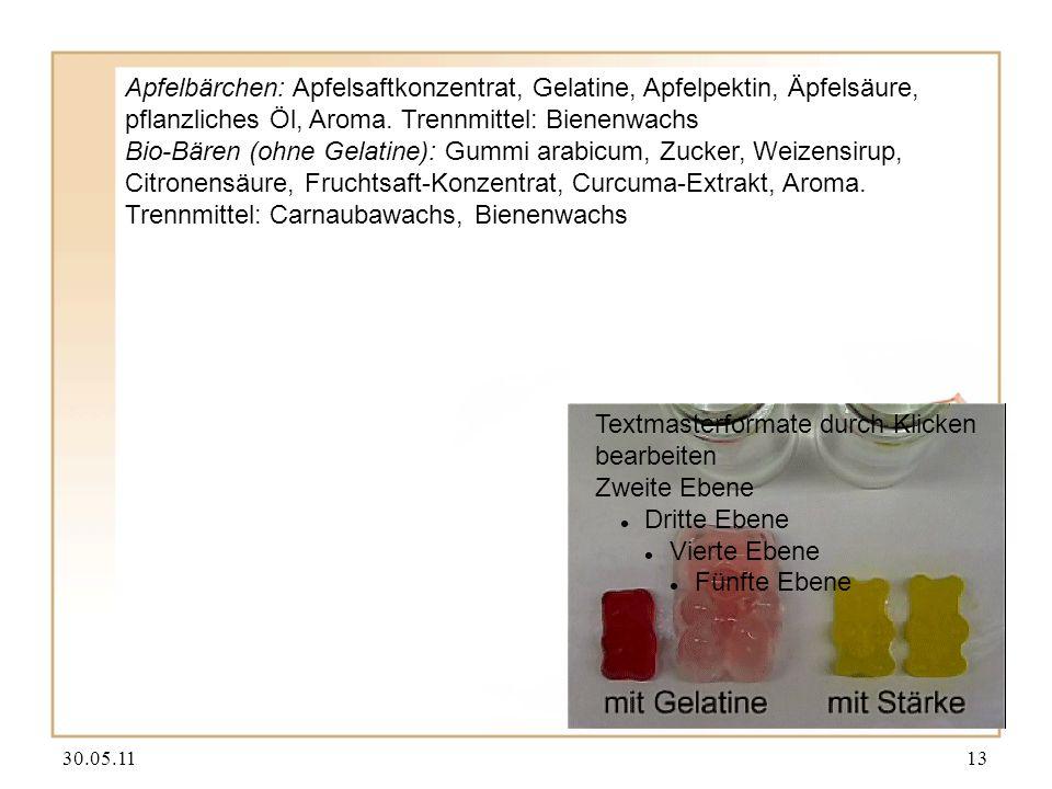 30.05.1113 Textmasterformate durch Klicken bearbeiten Zweite Ebene Dritte Ebene Vierte Ebene Fünfte Ebene Apfelbärchen: Apfelsaftkonzentrat, Gelatine, Apfelpektin, Äpfelsäure, pflanzliches Öl, Aroma.