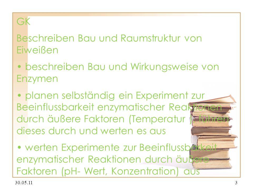 GK Beschreiben Bau und Raumstruktur von Eiweißen beschreiben Bau und Wirkungsweise von Enzymen planen selbständig ein Experiment zur Beeinflussbarkeit