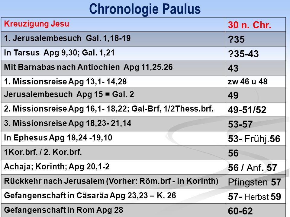 Chronologie Paulus Kreuzigung Jesu 30 n. Chr. 1.