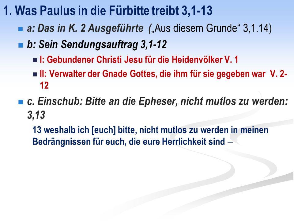 1. Was Paulus in die Fürbitte treibt 3,1-13 a : Das in K.