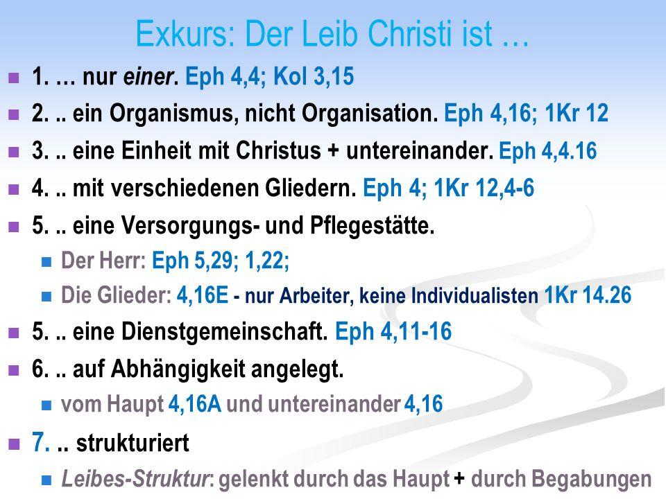 Exkurs: Der Leib Christi ist … 1. … nur einer. Eph 4,4; Kol 3,15 2...