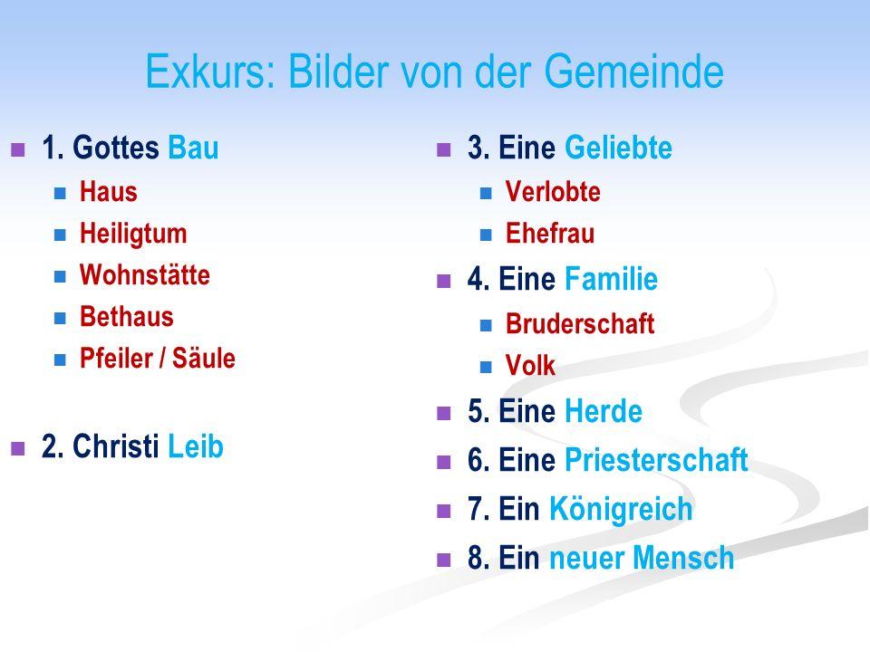 Exkurs: Bilder von der Gemeinde 1. Gottes Bau Haus Heiligtum Wohnstätte Bethaus Pfeiler / Säule 2.