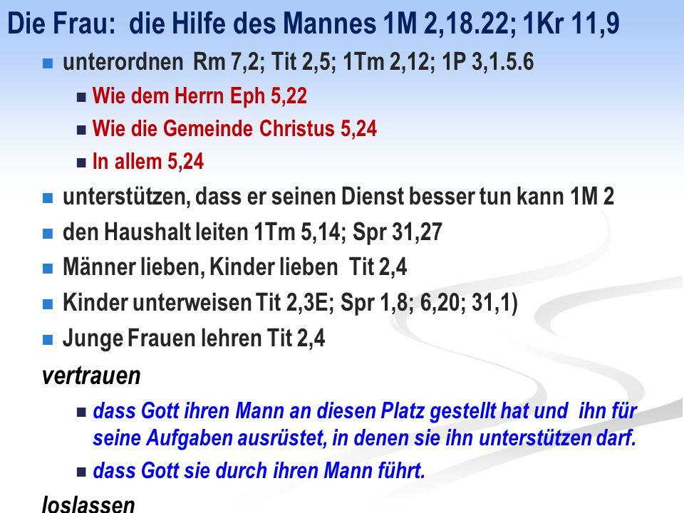 Die Frau: die Hilfe des Mannes 1M 2,18.22; 1Kr 11,9 unterordnen Rm 7,2; Tit 2,5; 1Tm 2,12; 1P 3,1.5.6 Wie dem Herrn Eph 5,22 Wie die Gemeinde Christus 5,24 In allem 5,24 unterstützen, dass er seinen Dienst besser tun kann 1M 2 den Haushalt leiten 1Tm 5,14; Spr 31,27 Männer lieben, Kinder lieben Tit 2,4 Kinder unterweisen Tit 2,3E; Spr 1,8; 6,20; 31,1) Junge Frauen lehren Tit 2,4 vertrauen dass Gott ihren Mann an diesen Platz gestellt hat und ihn für seine Aufgaben ausrüstet, in denen sie ihn unterstützen darf.