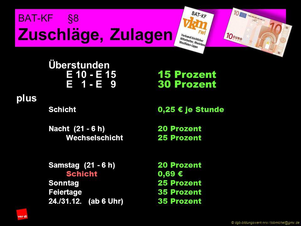 BAT-KF §8 Zuschläge, Zulagen Überstunden E 10 - E 15 15 Prozent E 1 - E 9 30 Prozent Schicht 0,25 € je Stunde Nacht (21 - 6 h) 20 Prozent Wechselschicht 25 Prozent (TV-Ä KF) 1,28 € (19 - 6 h) Samstag (21 - 6 h) 20 Prozent Schicht0,69 € Sonntag 25 Prozent Feiertage 35 Prozent 24./31.12.