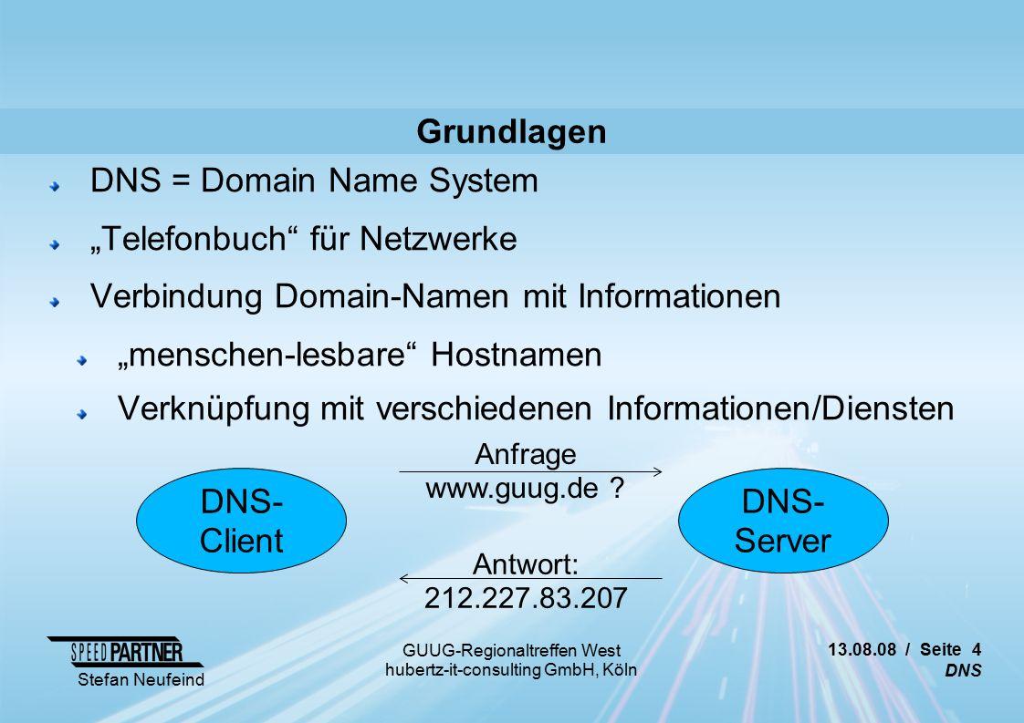 13.08.08 / Seite 15 DNS Stefan Neufeind GUUG-Regionaltreffen West hubertz-it-consulting GmbH, Köln Attacken (Auswahl) Offene Recursor Abhilfe: Nur Antworten für eigene Domains, Recursor nur für notwendige Clients Bind: /etc/named.conf acl our-clients { 192.168.7.0/24; }; options { allow-recursion { our-clients; }; allow-query { our-clients; }; [...] Bind: /var/named/named.primary zone example.com IN { type master; file zone.example.com ; allow-query { any; }; }; [...]