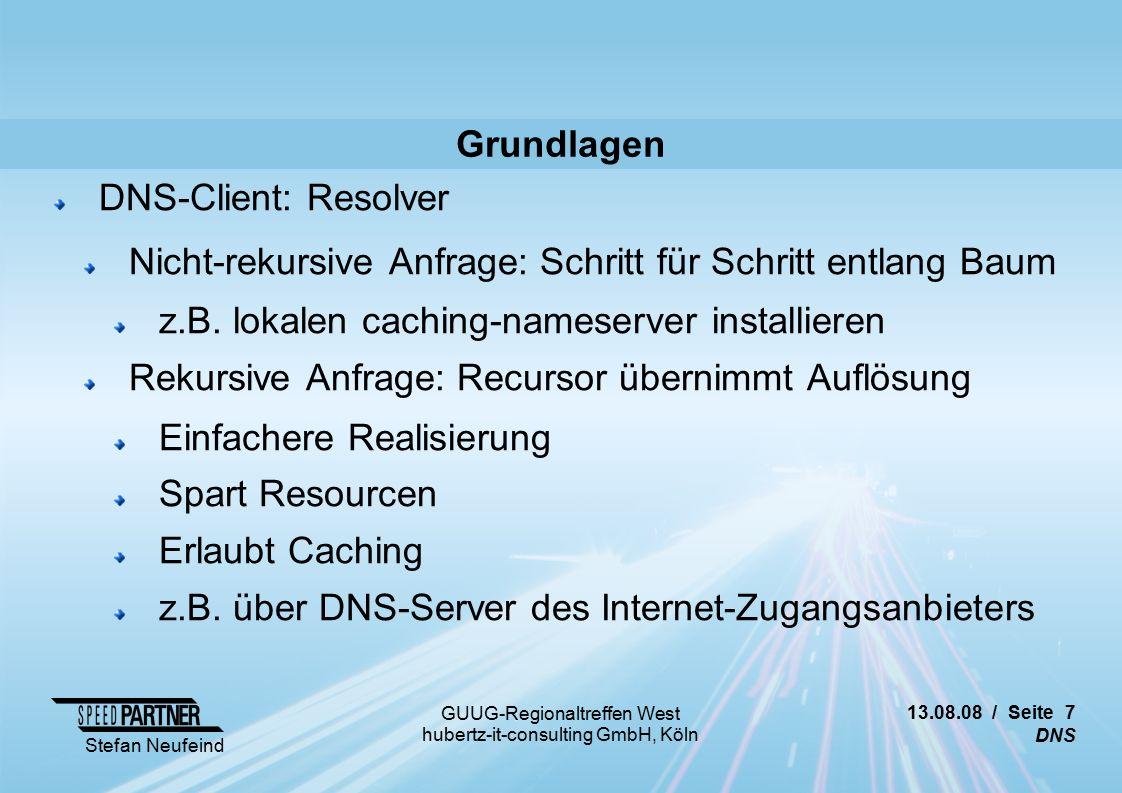 13.08.08 / Seite 28 DNS Stefan Neufeind GUUG-Regionaltreffen West hubertz-it-consulting GmbH, Köln Attacken (Auswahl) Injection Stolperfallen NAT für DNS kann ggf.