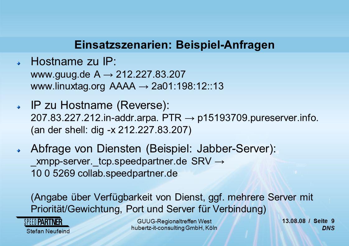13.08.08 / Seite 30 DNS Stefan Neufeind GUUG-Regionaltreffen West hubertz-it-consulting GmbH, Köln Weitere Links Injection-Attacken http://seclists.org/fulldisclosure/2008/Jul/0375.html http://www.heise.de/security/Details-zum-DNS-Sicherheitsproblem-veroeffentlicht--/news/meldung/113133 http://www.net-security.org/dl/articles/Attacking_the_DNS_Protocol.pdf http://www.nytimes.com/2008/08/09/technology/09flaw.html http://tservice.net.ru/~s0mbre/blog/devel/networking/dns/2008_08_08.html http://de.wikipedia.org/wiki/DNSSEC