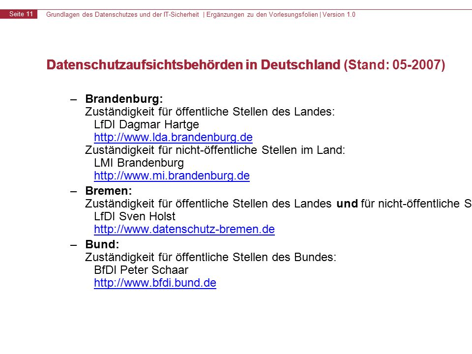 Grundlagen des Datenschutzes und der IT-Sicherheit | Ergänzungen zu den Vorlesungsfolien | Version 1.0 Seite 11 Datenschutzaufsichtsbehörden in Deutschland – Brandenburg: Zuständigkeit für öffentliche Stellen des Landes: LfDI Dagmar Hartge http://www.lda.brandenburg.de Zuständigkeit für nicht-öffentliche Stellen im Land: LMI Brandenburg http://www.mi.brandenburg.de http://www.lda.brandenburg.de http://www.mi.brandenburg.de – Bremen: Zuständigkeit für öffentliche Stellen des Landes und für nicht-öffentliche Stellen im Land: LfDI Sven Holst http://www.datenschutz-bremen.de http://www.datenschutz-bremen.de – Bund: Zuständigkeit für öffentliche Stellen des Bundes: BfDI Peter Schaar http://www.bfdi.bund.de http://www.bfdi.bund.de Datenschutzaufsichtsbehörden in Deutschland (Stand: 05-2007)