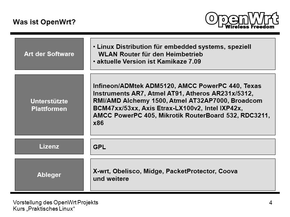"""Vorstellung des OpenWrt Projekts Kurs """"Praktisches Linux 15 Anwendungsbeispiele OpenVPNChillispotBittorrent Webserver In begrenztem Umfang kann der OpenWrt Router auch als Webserver fungieren."""