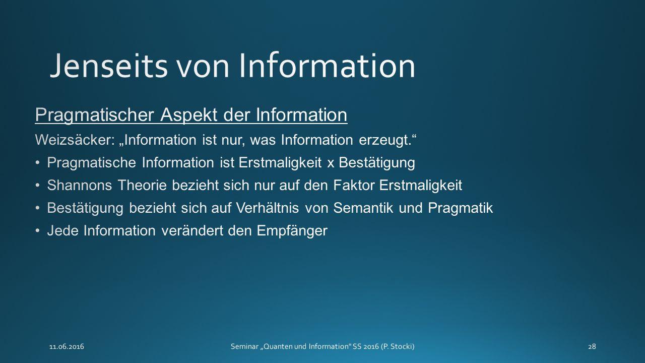 """11.06.2016Seminar """"Quanten und Information"""