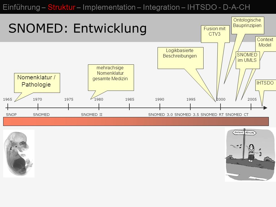 SNOMED: Entwicklung SNOP SNOMED SNOMED II SNOMED 3.0 SNOMED 3.5 SNOMED RT SNOMED CT 1965 1970 1975 1980 1985 1990 1995 2000 2005 Nomenklatur / Patholo