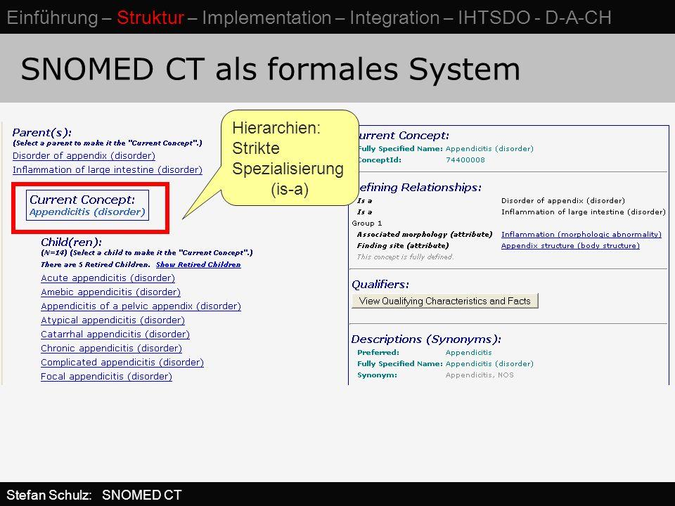 SNOMED CT als formales System Hierarchien: Strikte Spezialisierung (is-a) Stefan Schulz: SNOMED CT Einführung – Struktur – Implementation – Integration – IHTSDO - D-A-CH