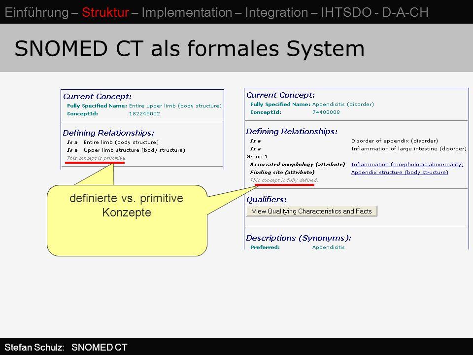 SNOMED CT als formales System definierte vs. primitive Konzepte Stefan Schulz: SNOMED CT Einführung – Struktur – Implementation – Integration – IHTSDO