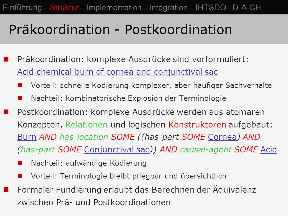 Präkoordination - Postkoordination Präkoordination: komplexe Ausdrücke sind vorformuliert: Acid chemical burn of cornea and conjunctival sac Vorteil: schnelle Kodierung komplexer, aber häufiger Sachverhalte Nachteil: kombinatorische Explosion der Terminologie Postkoordination: komplexe Ausdrücke werden aus atomaren Konzepten, Relationen und logischen Konstruktoren aufgebaut: Burn AND has-location SOME ((has-part SOME Cornea) AND (has-part SOME Conjunctival sac)) AND causal-agent SOME Acid Nachteil: aufwändige Kodierung Vorteil: Terminologie bleibt pflegbar und übersichtlich Formaler Fundierung erlaubt das Berechnen der Äquivalenz zwischen Prä- und Postkoordinationen Einführung – Struktur – Implementation – Integration – IHTSDO - D-A-CH