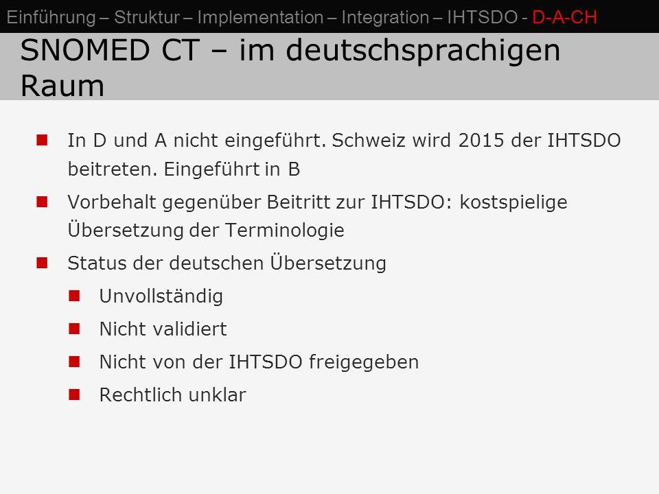 SNOMED CT – im deutschsprachigen Raum In D und A nicht eingeführt. Schweiz wird 2015 der IHTSDO beitreten. Eingeführt in B Vorbehalt gegenüber Beitrit