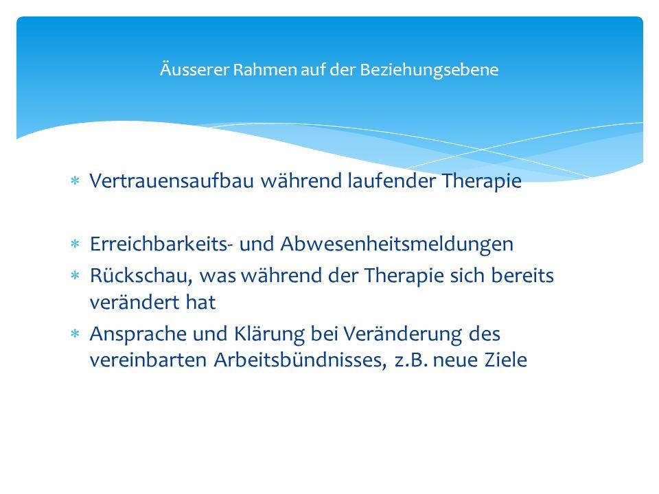  Vertrauensaufbau während laufender Therapie  Erreichbarkeits- und Abwesenheitsmeldungen  Rückschau, was während der Therapie sich bereits veränder