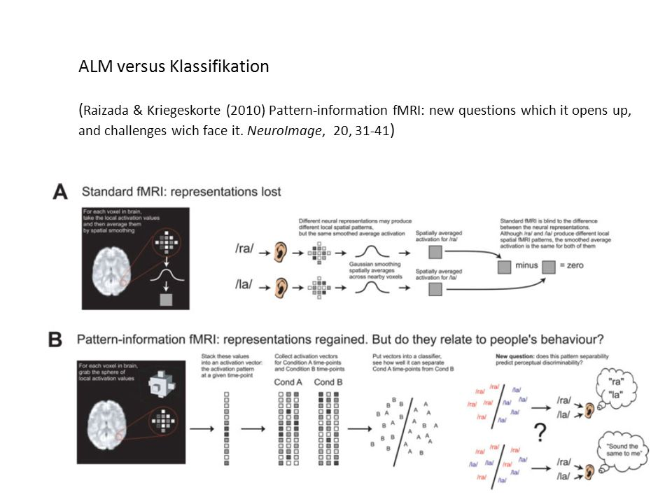 ALM versus Klassifikation ( Raizada & Kriegeskorte (2010) Pattern-information fMRI: new questions which it opens up, and challenges wich face it. Neur