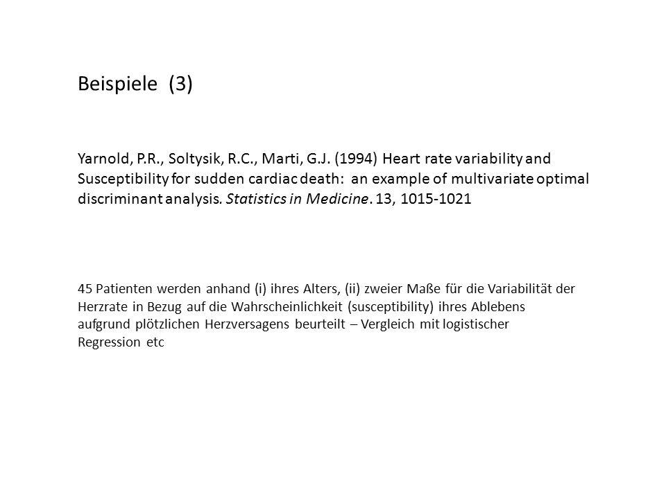 Beispiele (3) Yarnold, P.R., Soltysik, R.C., Marti, G.J.