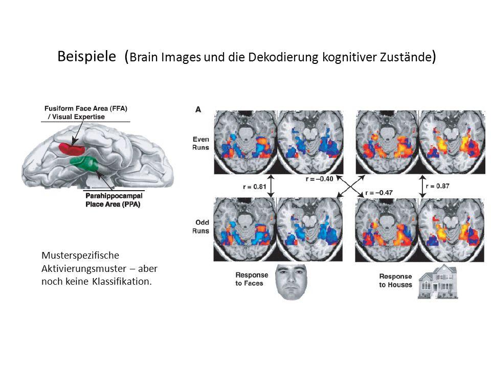 Beispiele ( Brain Images und die Dekodierung kognitiver Zustände ) Musterspezifische Aktivierungsmuster – aber noch keine Klassifikation.