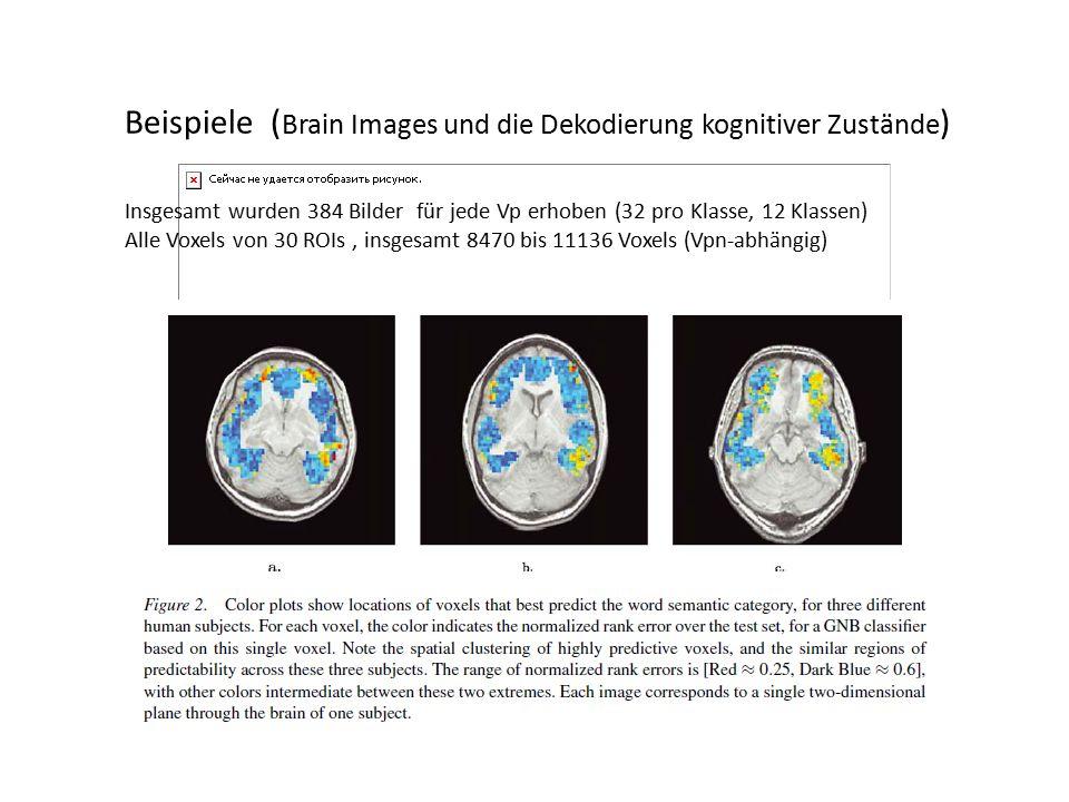Beispiele ( Brain Images und die Dekodierung kognitiver Zustände ) Insgesamt wurden 384 Bilder für jede Vp erhoben (32 pro Klasse, 12 Klassen) Alle Voxels von 30 ROIs, insgesamt 8470 bis 11136 Voxels (Vpn-abhängig)