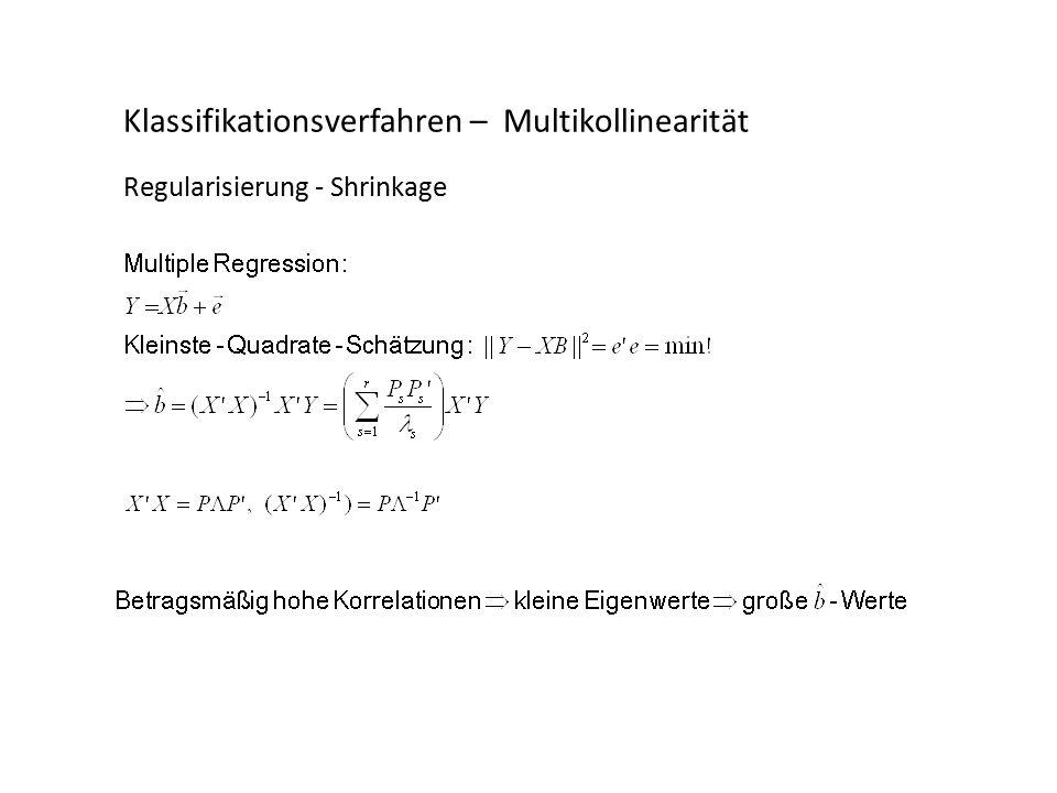 Klassifikationsverfahren – Multikollinearität Regularisierung - Shrinkage