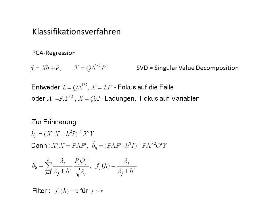 Klassifikationsverfahren PCA-Regression SVD = Singular Value Decomposition