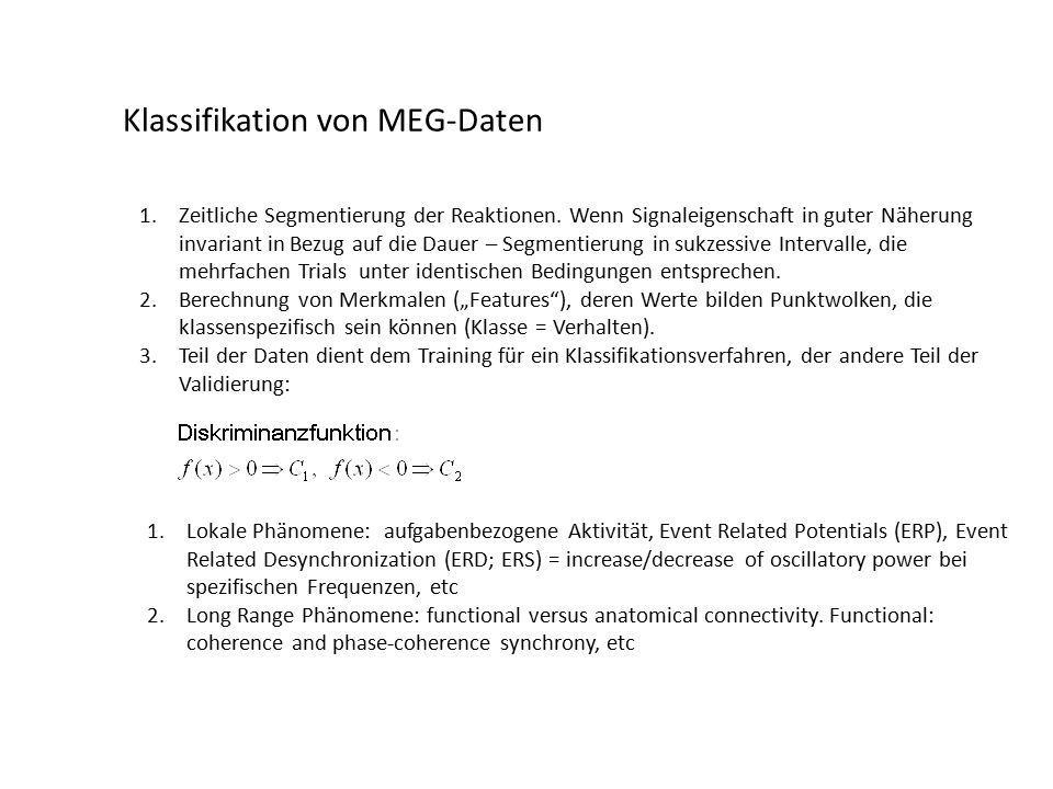 Klassifikation von MEG-Daten 1.Zeitliche Segmentierung der Reaktionen.