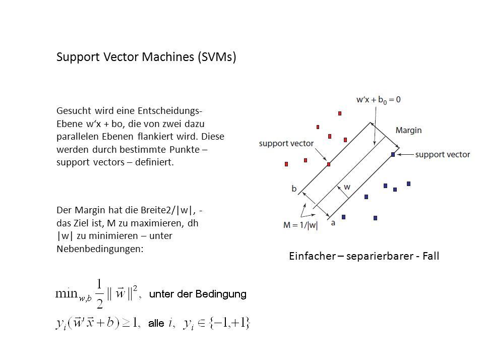 Support Vector Machines (SVMs) Gesucht wird eine Entscheidungs- Ebene w'x + bo, die von zwei dazu parallelen Ebenen flankiert wird.