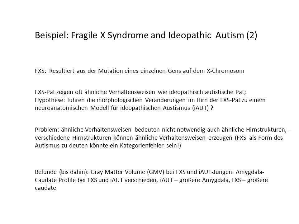 Beispiel: Fragile X Syndrome and Ideopathic Autism (2) FXS: Resultiert aus der Mutation eines einzelnen Gens auf dem X-Chromosom FXS-Pat zeigen oft ähnliche Verhaltensweisen wie ideopathisch autistische Pat; Hypothese: führen die morphologischen Veränderungen im Hirn der FXS-Pat zu einem neuroanatomischen Modell für ideopathischen Austismus (iAUT) .