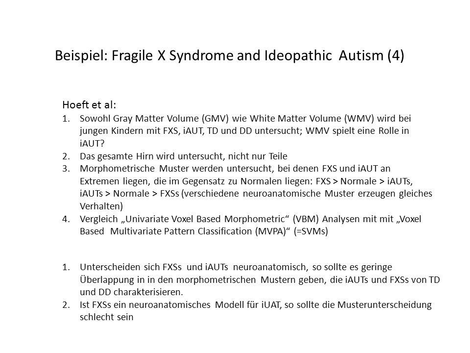 Beispiel: Fragile X Syndrome and Ideopathic Autism (4) Hoeft et al: 1.Sowohl Gray Matter Volume (GMV) wie White Matter Volume (WMV) wird bei jungen Kindern mit FXS, iAUT, TD und DD untersucht; WMV spielt eine Rolle in iAUT.