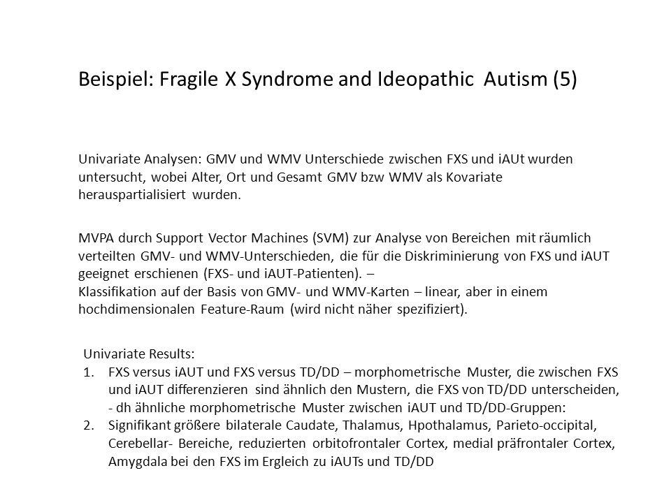 Beispiel: Fragile X Syndrome and Ideopathic Autism (5) Univariate Analysen: GMV und WMV Unterschiede zwischen FXS und iAUt wurden untersucht, wobei Alter, Ort und Gesamt GMV bzw WMV als Kovariate herauspartialisiert wurden.