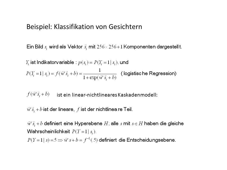 Beispiel: Klassifikation von Gesichtern ist ein linear-nichtlineares Kaskadenmodell: