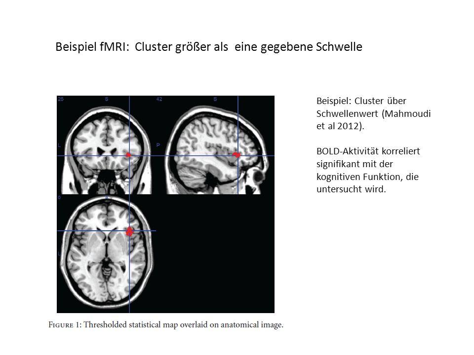 Beispiel fMRI: Cluster größer als eine gegebene Schwelle Beispiel: Cluster über Schwellenwert (Mahmoudi et al 2012).
