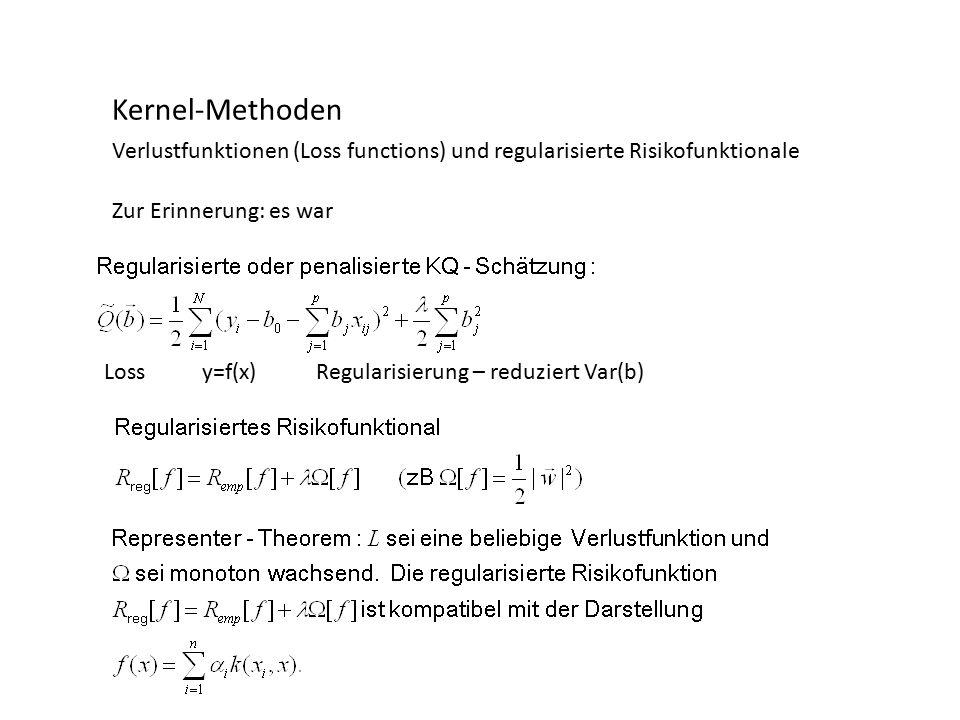 Kernel-Methoden Verlustfunktionen (Loss functions) und regularisierte Risikofunktionale Zur Erinnerung: es war Regularisierung – reduziert Var(b)Lossy=f(x)
