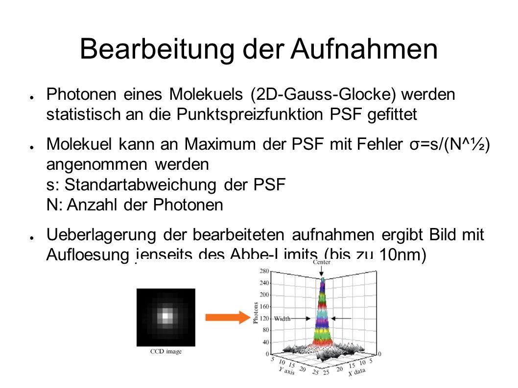Bearbeitung der Aufnahmen ● Photonen eines Molekuels (2D-Gauss-Glocke) werden statistisch an die Punktspreizfunktion PSF gefittet ● Molekuel kann an Maximum der PSF mit Fehler σ=s/(N^½) angenommen werden s: Standartabweichung der PSF N: Anzahl der Photonen ● Ueberlagerung der bearbeiteten aufnahmen ergibt Bild mit Aufloesung jenseits des Abbe-Limits (bis zu 10nm)