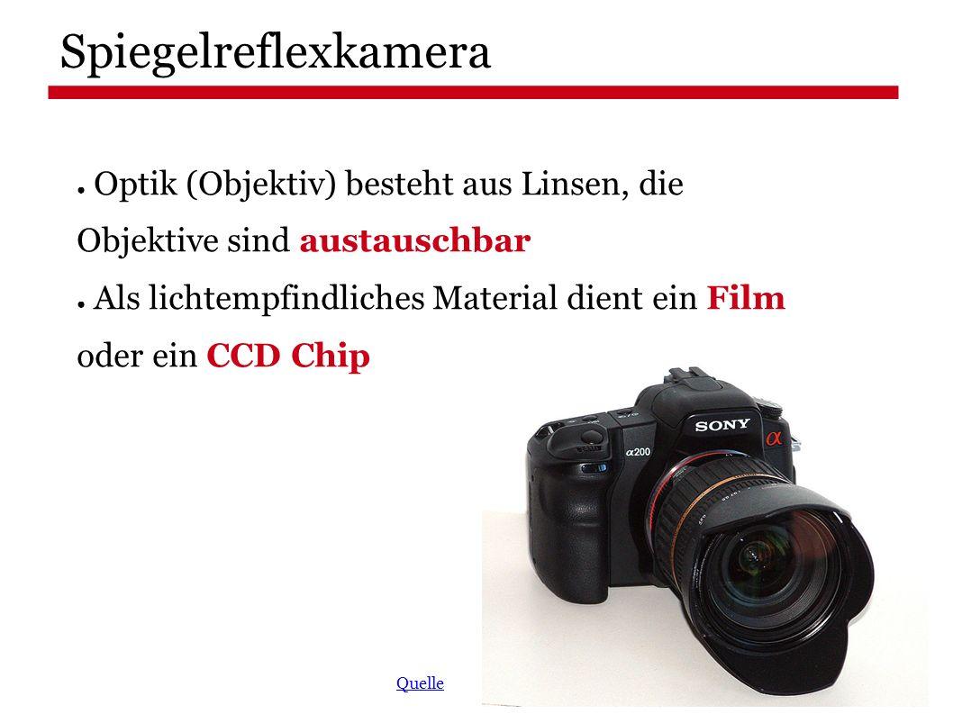 Spiegelreflexkamera ● Optik (Objektiv) besteht aus Linsen, die Objektive sind austauschbar ● Als lichtempfindliches Material dient ein Film oder ein CCD Chip Quelle