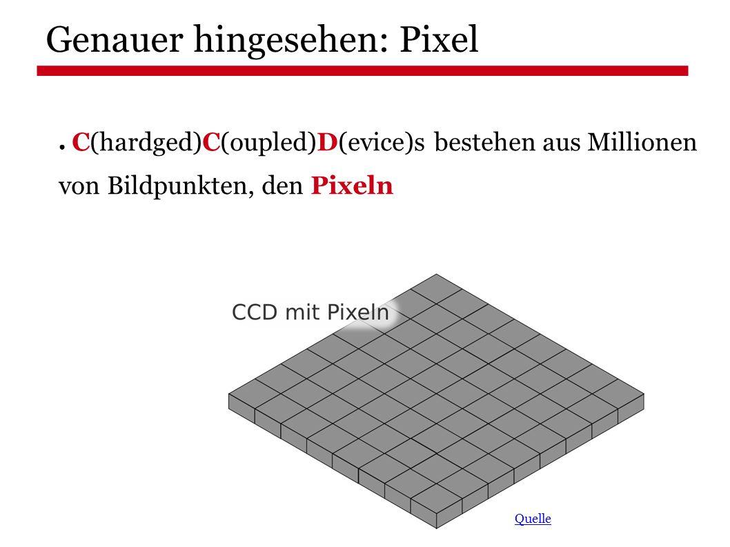 Genauer hingesehen: Pixel Quelle ● C(hardged)C(oupled)D(evice)s bestehen aus Millionen von Bildpunkten, den Pixeln