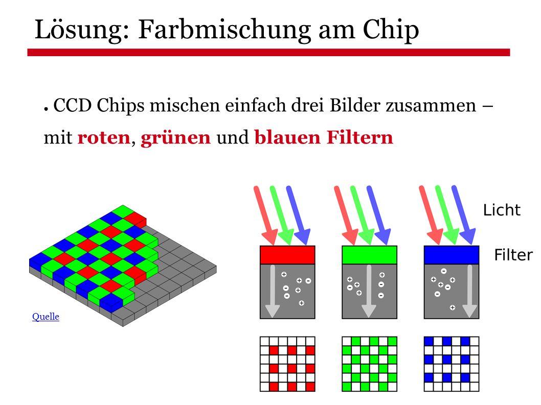 Lösung: Farbmischung am Chip ● CCD Chips mischen einfach drei Bilder zusammen – mit roten, grünen und blauen Filtern Quelle
